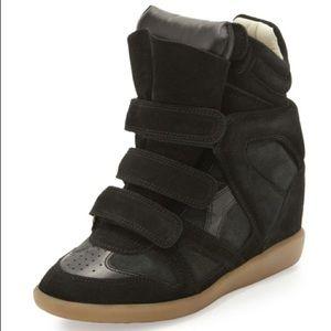 Isabel Marant Black Wedge Beckett Sneaker EUC